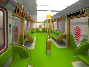 Интерьер вагона метро.